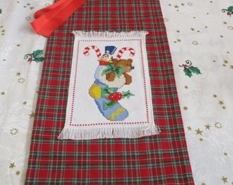 """Christmas bag with cross stitch to pack gifts """"stocking stuffed with gifts"""""""