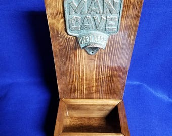 Man Cave bottle opener with cap catcher box