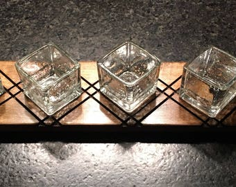 Wooden Tea Light Stand with 5 Tea Light Holders - Angled * Unique * Maple wood * Elegant