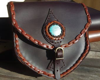Leather Fanny pack with Howlite Stone