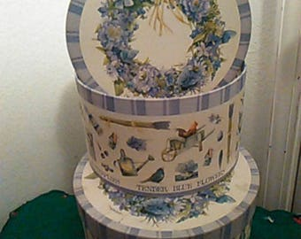 Set Of Two Blue Round Hat Boxes