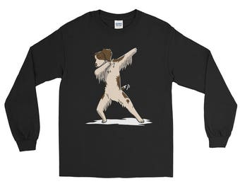 Cute Dabbing Brittany Spaniel Dog Long Sleeve T-Shirt Funny Dab Dance Gift