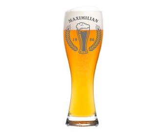 "Leonardo Wheat Glass with personalized engraving/engraving ""foam crown"" gift for men beer with name date for birthday Father's Day"
