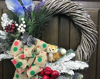 Winter Wreath for front door - Rustic Wreath - Woodland Wreath - Fox Wreath - Door Wreath - Christmas Wreath - Ready to Ship