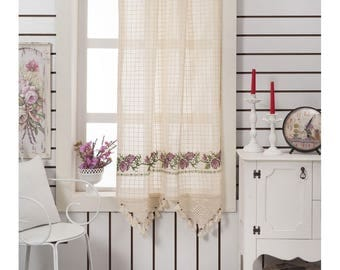 100% Cotton Curtain, Kitchen Curtains, Natural Authentic Burlap Curtains,Custom  Curtain,