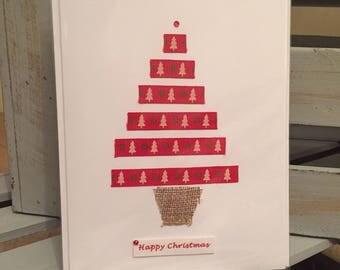 5x Christmas Cards: Ribbon tree