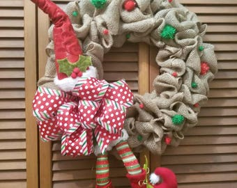 Elf Burlap Wreath
