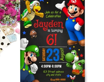 INSTANT DOWNLOAD - Mario Brothers Invitation - Mario Brothers Birthday Invitation - Mario Brothers Invite - Invitation - Birthday Invitation