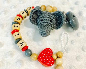 Pacifier with name crocheted elephant