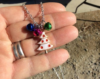 """Holiday necklace with an enamel Christmas tree with bells on a 20"""" textured cable chain."""