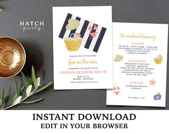 Bachelorette Weekend Invitation with Itinerary INSTANT DOWNLOAD, Editable Template, girls weekend, beach weekend, edit fonts and font colors