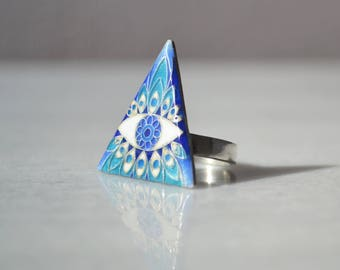 Triangle ring, Enamel ring, Cloisonné ring, Blue ring, Boho style Ring, Bohemian ring, Evil eye ring