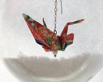 "Christmas Tree Ornament - Japanese Origami Paper Crane (3.5"" Red/ Orange)"