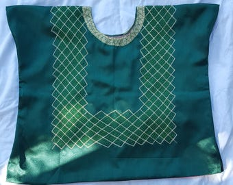 Green Satin Huipil in Large