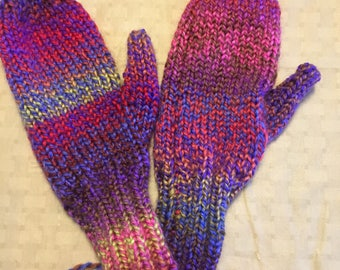 Hand knit multicolor mittens