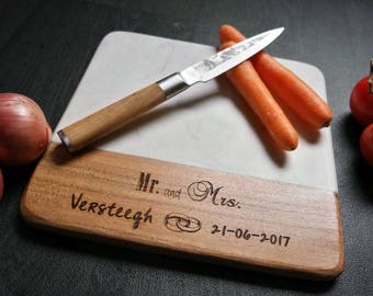 Personalized cutting board, Wedding Gift, Engagement gift, Anniversary gift, Engraved marble cutting board, Kitchen decoration
