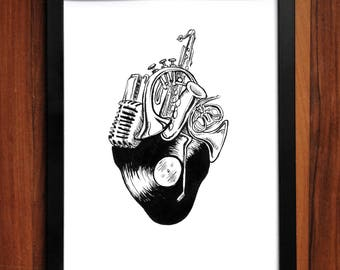 Music Heart Art Print, artwork, pen and ink, home decor