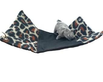 Rat Hammock - Rat Cage Accessories - Animal Print Peekaboo Snuggle Hammock - Sugar Glider Hammock