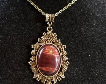 "18"" Red Tigers Eye cabochon necklace"