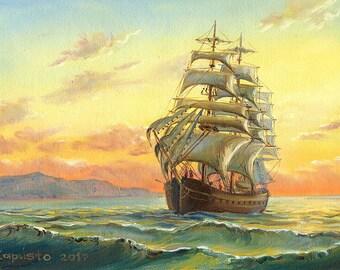 Sunrise sea painting, seascape painting, ship on sea, original painting, oil on canvas painting, nautical art, yellow sky, ship painting