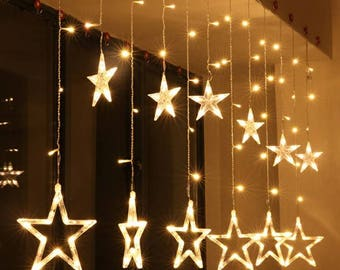 star light curtain with 8 flashing modes decoration for christmas wedding party home - Star Lights Christmas