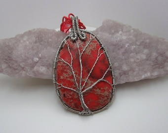 Orange sea sediment wire wrapped tree of life pendant necklace - Free Shipping!