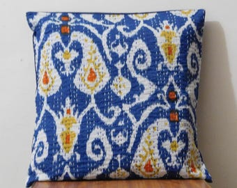 Indian Handmade Decorative Cotton Kantha Ikth Print Cushion Cover Pillowcase For Room Decor 16 x 16!