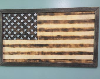 Wood Burnt American Flag