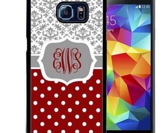 Monogrammed Rubber Case For Samsung S5, S6, S6 edge, S6 Edge Plus, S7, S7 Edge,  8, 8 plus - Burgundy Polka Dot