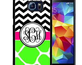 Monogrammed Rubber Case For Samsung S5, S6, S6 edge, S6 Edge Plus, S7, S7 Edge,  8, 8 plus -Lime Giraffe Chevron