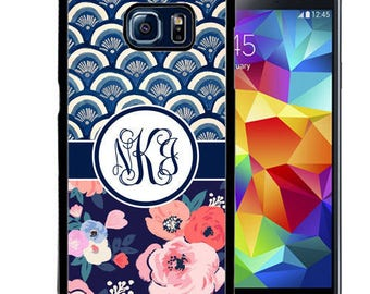 Monogrammed Rubber Case For Samsung S5, S6, S6 edge, S6 Edge Plus, S7, S7 Edge,  8, 8 plus - Blue Floral