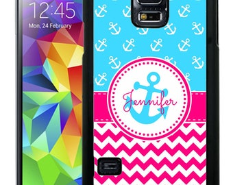 Personalize Rubber Case For Samsung Note 3, Note 4, Note 5, or Note 8-  Hot Pink Chevron Blue Anchor
