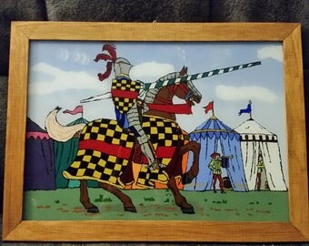 """reverse glass painting """" Knight"""""""