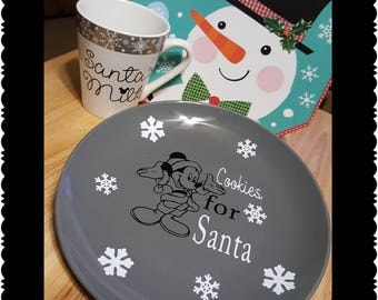 Santa cookie plate set