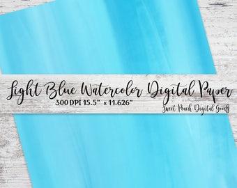 Light Blue Watercolor Digital Paper Clip Art Image Single JPG Background / Digital Backgrounds / Printable Instant Download Scrapbooking