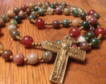 Catholic Rosary - Natural Indian Agate Stone Bead, Fancy Agate, Semi-precious Gemstone, Heirloom Quality, 5 Decade Rosary, Bronze, Flex Wire
