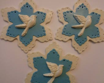 Christmas Ornament - original hand made polymer clay Dove Snowflakes