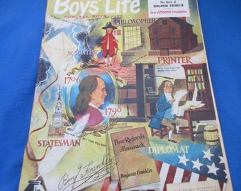 Boys' Life January 1956 Ben Franklin Cover by Lowell Hess VINTAGE ADS
