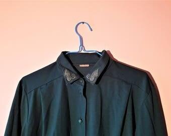 Vintage grøn skjorte med fin detalje
