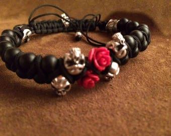 Bracelet Men/Women black onyx bracelet with red roses silver components 925
