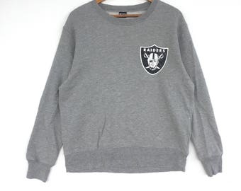Raiders Sweatshirt silver colour Big Logo Embroidery Sweat Medium Size Jumper Pullover Jacket Sweater Shirt Vintage 90's