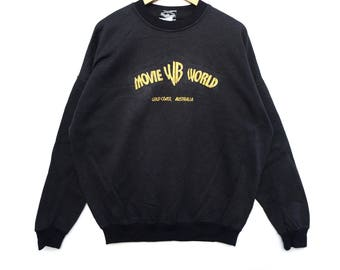 Movie world warner bross Sweatshirt Big Logo spell out Embroidery Sweat Medium Size Jumper Pullover Jacket Sweater Shirt Vintage 90's