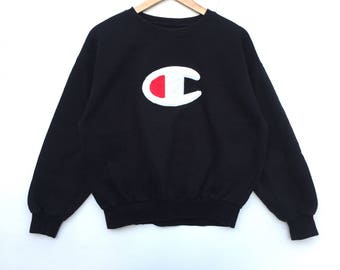 Champion Sweatshirt  black colour Big Logo spell out Embroidery Sweat Medium Size Jumper Pullover Jacket Sweater Shirt Vintage 90's