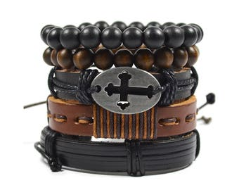 5 Pack Brown and Black Cross Bracelet Set