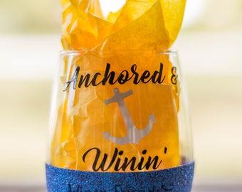 Anchor Wine Tumbler, Wine Glasses, Wine Gift, Wine Lover Gift, Anchor Decor, Gift For Boat Lovers, Wedding Favors Wine, Glitter Wine Glasses