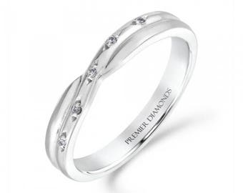 5 stone grain set round brilliant cut diamond crossover ring 0.03 carat - Engagement Ring, White/Rose/Yellow Gold, Platinum and Palladium