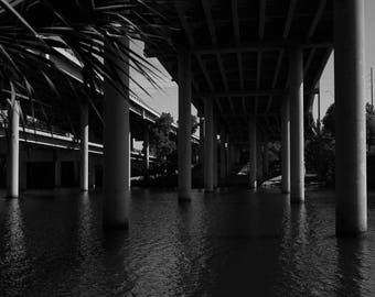 Black and White Photo of a Bridge over the Colorado River //  Photography in Austin, Texas