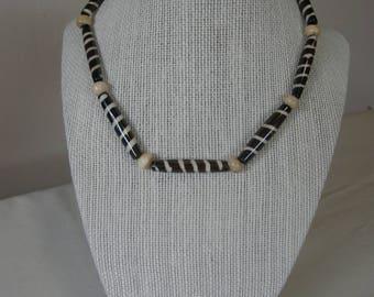 Batik Bone Beaded Necklace