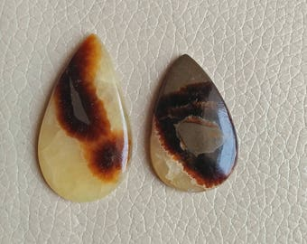 Natural Septarian 2 Pieces Stone Set, Teardrop Shape Gemstone, Septarian Stone Size 44x26x6, 37x27x6 MM Approx, Gemstone Weight 71 Carat