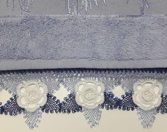 Decorative Hand Towel, Cotton Towel, Turkish Lace Embroidery, Oya Lace, Bathroom Decor, Victorian Style Towel, Cottage Chic,  Purple Towel
